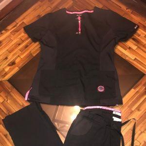 KOI Black  SCRUBS SET LARGE/TALL PANTS SLIM FIT